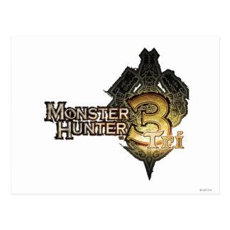 Logotipo del cazador del monstruo tri postales