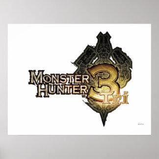 Logotipo del cazador del monstruo tri posters