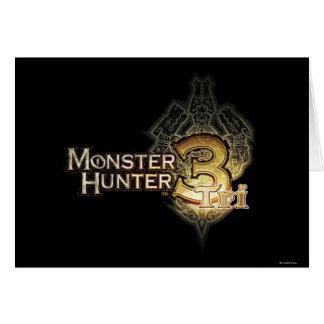 Logotipo del cazador del monstruo tri felicitaciones
