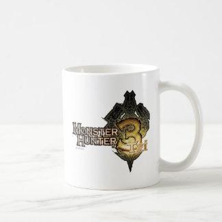 Logotipo del cazador del monstruo tri tazas de café