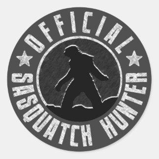 Logotipo del círculo del CAZADOR de Sasquatch Etiquetas