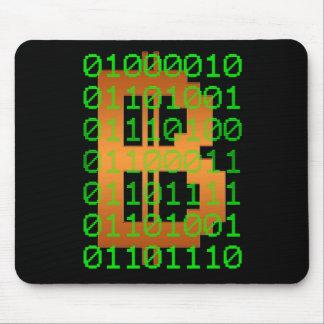 Logotipo del código binario de Bitcoin Mousepad