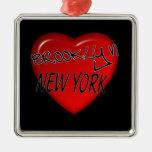Logotipo del corazón de Brooklyn Nueva York Ornamentos De Reyes Magos