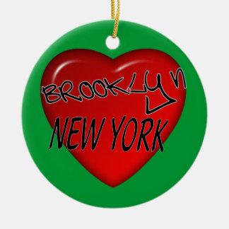 Logotipo del corazón de Brooklyn Nueva York Ornamentos Para Reyes Magos