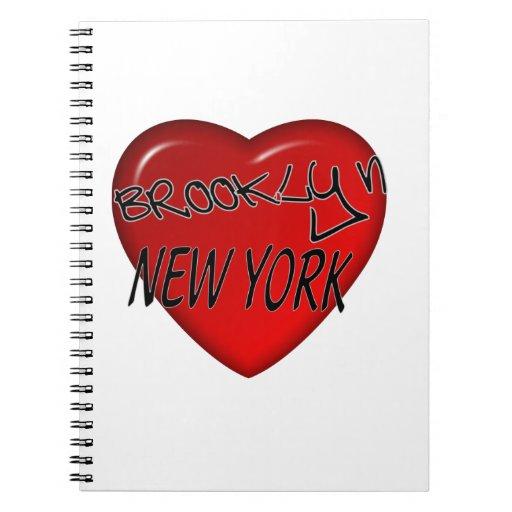 Logotipo del corazón de Brooklyn Nueva York Cuaderno