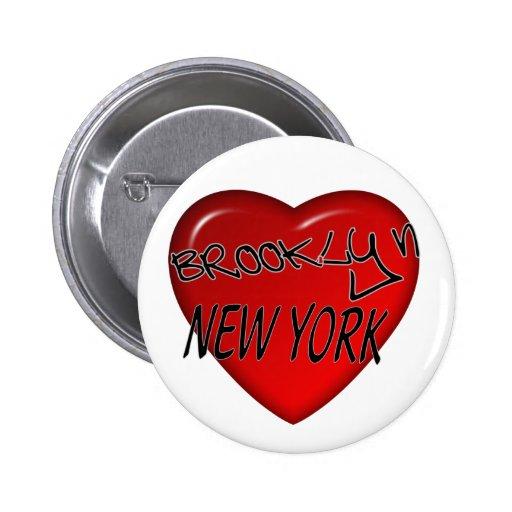 Logotipo del corazón de Brooklyn Nueva York Pin