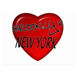 Logotipo del corazón de Brooklyn Nueva York Tarjetas Postales