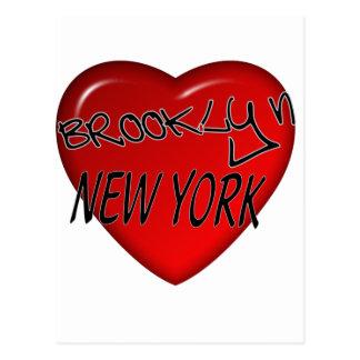Logotipo del corazón de Brooklyn Nueva York Tarjeta Postal