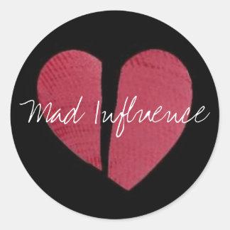 Logotipo del corazón quebrado pegatina redonda