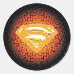 Logotipo del crujido del superhombre pegatina redonda