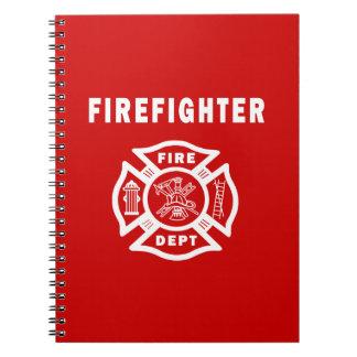 Logotipo del departamento del fuego del bombero libro de apuntes
