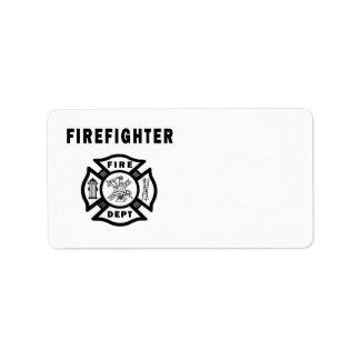 Logotipo del departamento del fuego del bombero etiquetas de dirección