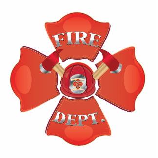 Logotipo del departamento del fuego fotoescultura vertical