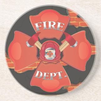 Logotipo del departamento del fuego posavasos de arenisca