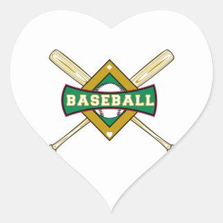 logotipo del diamante de béisbol pegatina en forma de corazón