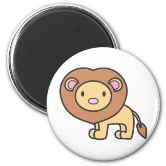 Logotipo del dibujo animado del león imán redondo 5 cm