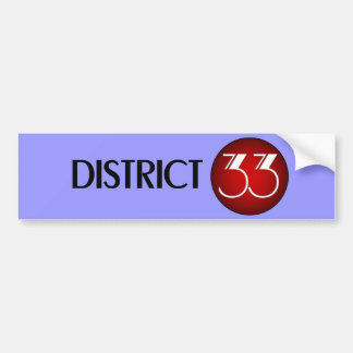 Logotipo del distrito 33 (texto negro) pegatina para auto
