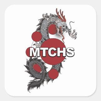 Logotipo del dragón de MTCHS Pegatina Cuadrada