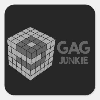 logotipo del drogadicto 9gag en cubo pegatina cuadrada