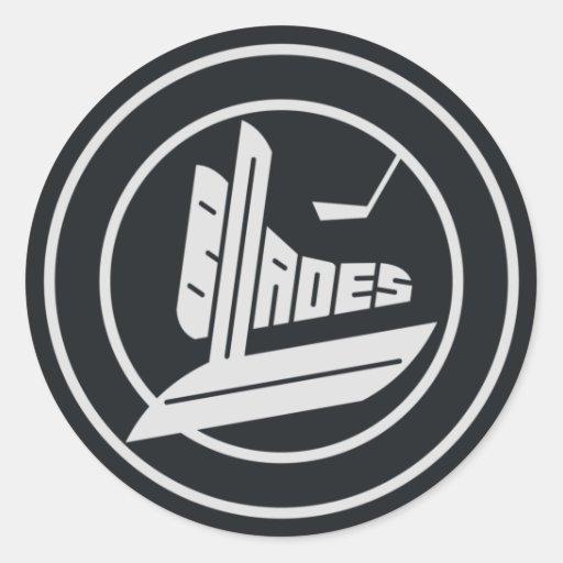 Logotipo del duende malicioso de las cuchillas pegatina redonda