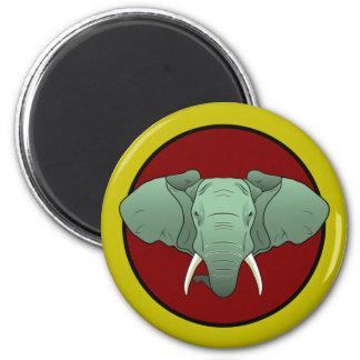 logotipo del elefante del estilo del cómic imán redondo 5 cm