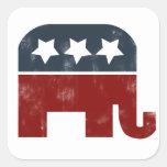 Logotipo del elefante del GOP Pegatina Cuadrada