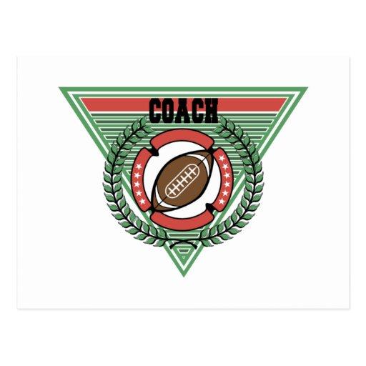 Logotipo del entrenador de fútbol postal
