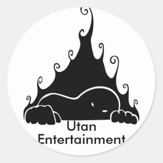 Logotipo del entretenimiento de Utan Pegatina Redonda