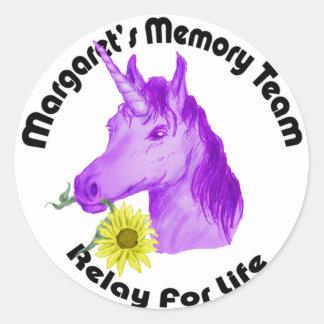 Logotipo del equipo de la memoria de pegatina redonda