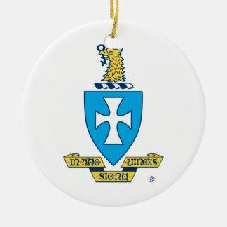 Logotipo del escudo de la ji de la sigma adorno navideño redondo de cerámica