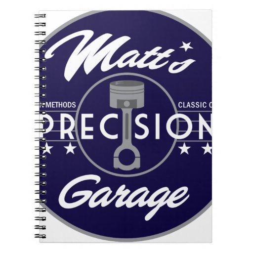 Logotipo del estándar del garaje de la precisión d libreta espiral
