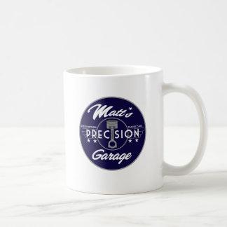 Logotipo del estándar del garaje de la precisión d tazas de café