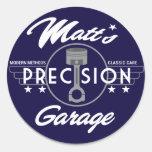Logotipo del estándar del garaje de la precisión pegatinas redondas