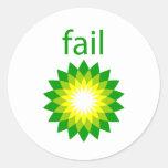 Logotipo del fall del derrame de petróleo de BP Pegatina Redonda