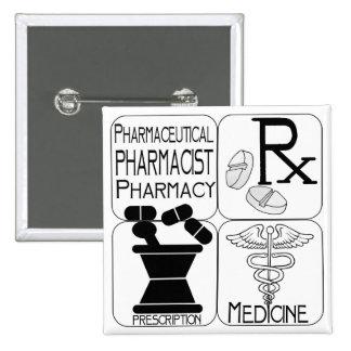 LOGOTIPO del farmacéutico de la farmacia Pin Cuadrada 5 Cm