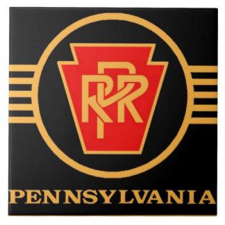 Logotipo del ferrocarril de Pennsylvania, negro y Azulejo Cuadrado Grande