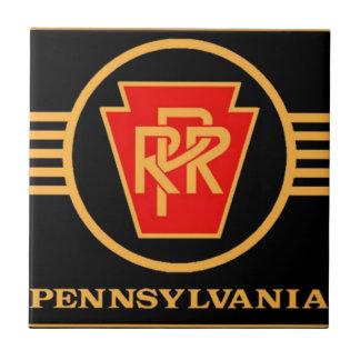 Logotipo del ferrocarril de Pennsylvania, negro y Azulejo Cuadrado Pequeño