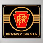 Logotipo del ferrocarril de Pennsylvania, negro y Posters