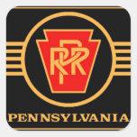 Logotipo del ferrocarril de Pennsylvania, negro y Pegatina Cuadrada