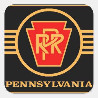 Logotipo del ferrocarril de Pennsylvania, negro y Pegatina Cuadradas Personalizada