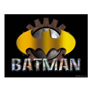 Logotipo del fondo del engranaje de Batman el   Postal