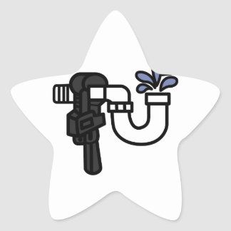 Logotipo del fontanero pegatina en forma de estrella