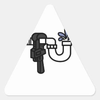 Logotipo del fontanero pegatina triangular
