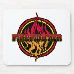 Logotipo del fuego del bombero tapete de raton