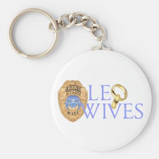 Logotipo del funcionario de las esposas de LEO Llavero Redondo Tipo Pin