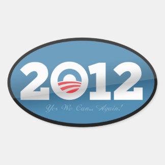 Logotipo del funcionario de Obama 2012 Calcomanía Óval
