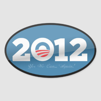Logotipo del funcionario de Obama 2012 Pegatina Ovalada