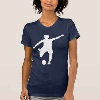 Logotipo del fútbol de las mujeres blanco en azul camisetas