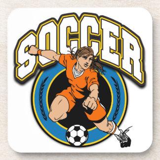 Logotipo del fútbol de las mujeres posavasos de bebida
