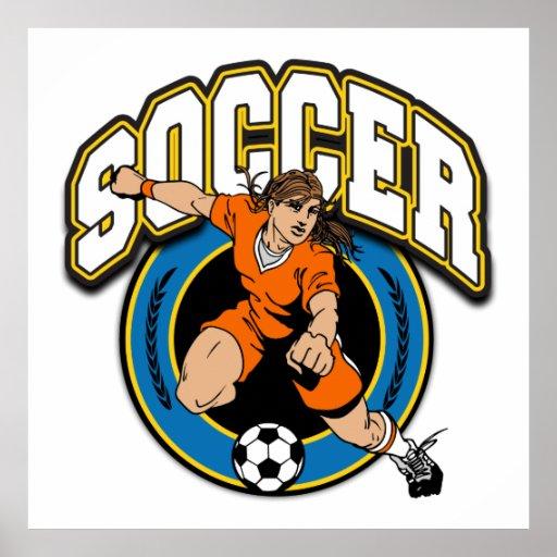 Logotipo del fútbol de las mujeres póster